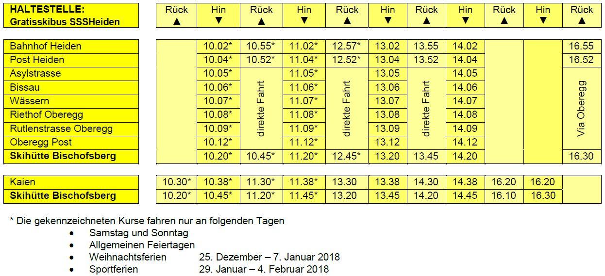 Fahrplan Gratisskibus Schneesportschule Heiden