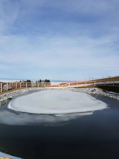 Speicherbecken für beschneiung super Pisten auf 900 müM