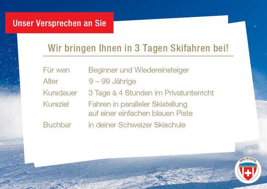 Skifahren erlernen in 3 Tagen - Gästeversprechen
